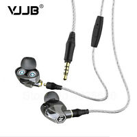 VJJB N1 twin driver unit In Ear Earphones detachable cable With Mic 4 colors