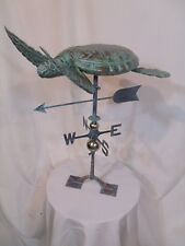 Large Handcrafted 3D 3-Dimensional Sea Turtle Weathervane Copper Patina Finish