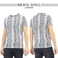 Brave Soul Mens T Shirt Snakeskin Print 'Poison' Crew Neck Design Top RRP £25