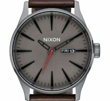 PRE-OWNED $125 Nixon Sentry Leather  Black / Brown Men's Classic Watch A1052736