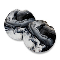 Black Marble |Rubber Car Coasters | Set of 2