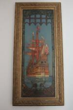 KENNETH D SHOESMITH DRAKES DEFEAT OF SPANISH ARMADA STERN MURAL OIL CANVAS