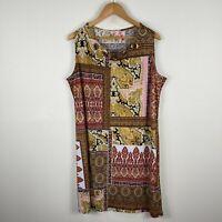 Millers Womens Dress 20 Plus Multicoloured Damask Sleeveless Round Neck