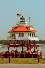 Drum Point Lighthouse by Mary Hollinger Solomon's Island Seascape American Flag