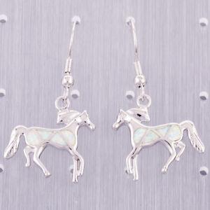 White Fire Opal Horse Pony Silver Jewelry Dangle Drop Earrings