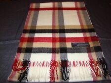 100% Cashmere Scarf Soft 72X12 Cream Tan Red Check Plaid Scotland Wool Z52 Women