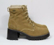 """Skechers Women's 45081 Sand Lace Up 2.5"""" Chunky Platform Suede Leather Boots"""