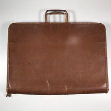Leathercraft Zipper Top Grain Cowhide Brown Briefcase Portfolio Handle Distress