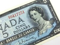 1954 Canada 5 Dollar Circulated SX Bouey Rasminsky Banknote R286