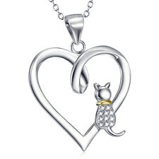 925 Sterling Silver White CZ Pet Cat Open Heart Necklace Charms Animal Pendant