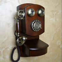 Luxury retro European Antique Vintage phone Wood Wall hanging telephone F051