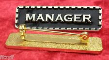 Manager Lapel Pin Badge Black & Gold Colour Sign Brooch