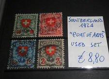 "FRANCOBOLLI STAMPS SVIZZERA SWITZERLAND 1924 ""COAT OF ARMS"" USED SET (CAT.A)"