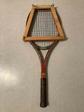 Antique Wood Pro Kennex Golden Ace Tennis Racket w/Wood Holder Rare
