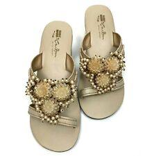 Vintage Beaded Sandals Pearl Floral Evening Phillipines Slides Sz 6 Carlton Glam