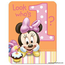 Minnie Mouse Baby INVITATIONS 1st First Birthday Decoration Party Supplies Girl