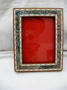 "Egyptian Wood Inlaid Handmade Paua Shell Picture Frame 8.75"" X 7"" #245 WOW!!!"