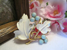 Vintage Gold Enamel Leaf & Berry Pin/Brooch ~ signed SARA COV ~ Gorgeous!!!