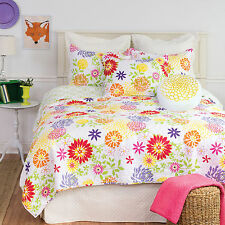 Lilly 100% Cotton Twin Quilt Set 2 Pc Twin Quilt + 1 Sham Multicolor Floral C&F
