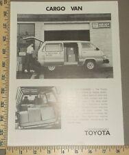 1984 Toyota Cargo Van Brochure Sheet