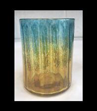 Gold and Aqua Marine Drinking Glass. Blown Glass