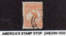 1913 Australia SC & SG 6 - 4p Orange Kangaroo w/ Map - Used*