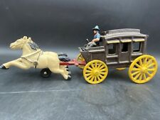 """Vintage Cast Iron Horse Team, Driver and Stagecoach~12"""", Good Condition"""