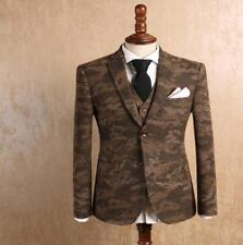 Mens Camouflage Blazer One-button Dress Casual Slim Fit Suit Coat Jacket Woolen