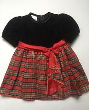 VTG Isabella Holiday Christmas Dress Girls Black Velvet Red Plaid Gold 4T
