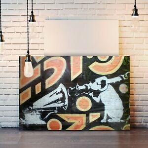 BANKSY HMV DOG GRAFFITI CANVAS WALL STREET ART PRINT ARTWORK DEEP FRAMED
