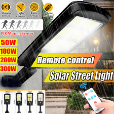 300W LED Solar Street Wall Light PIR Motion Sensor Outdoor Lamp + Control Remote