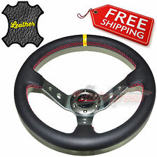 "350mm 14"" LEATHER 3-Spoke CORSICA Steering Wheel DEEP DISH RED Stitch TITANIUM"