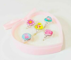 Peppa Pig Ring Set in pretty pink Heart shaped box with bow.