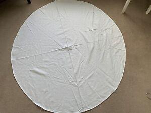 Vintage Circular White Damask Cotton Tablecloth 155cm Round