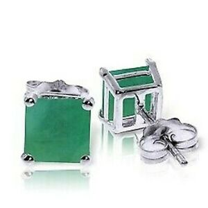 Emerald Stud Earrings In 14K White Gold (2.90 ct. tw