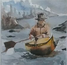 Hand Painted Original Watercolor CANOEING Winter Adventure River Signed by JV
