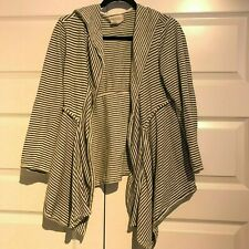 0da0a41aad4a MAX STUDIO WEEKEND Womens Black White Cotton Open Front Hooded Cardigan  Jacket L