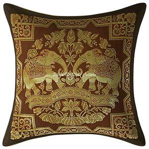 Decorative Indian Bedding Sofa Pillow Case Cover Brocade Elephant Cushion Cover