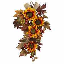 ARTIFICIAL SILK SUNFLOWER & BERRY AUTUMN DECOR FALL FLORAL WALL HANGING WREATH