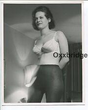 Stockings Wool Pantyhose Bra Vintage Lingerie Girl ORIGINAL 1960 PHOTO 1567