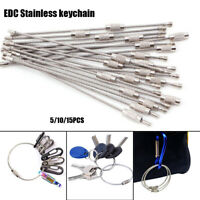 Rope Screw Key Holder EDC Keychain Stainless Steel Carabiner Wire Keyrings