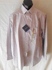 Croft & Barrow 100% Cotton 16 Neck 32/33 Gray Stripe Point Shirt SR$65 NEW