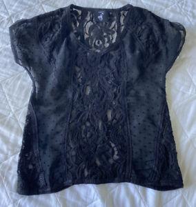 Sheer Black Lace V Neck Top Size 8