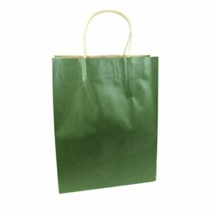 LDW 12 Forest Green Kraft Handle Paper Party Favor Wedding Gift Bags