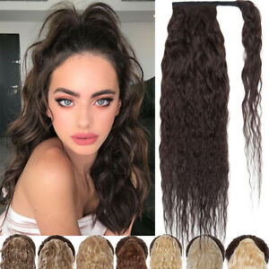 Real Thick Ponytail Clip In Hair Extensions Wrap Around Pony tail With Clip Wavy