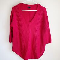 Torrid Red Cable Knit V-neck Tunic Sweater Chunky Plus Size 0X 3/4 Sleeve