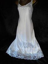 Stunning  vtg white m/s  silky  full slip petticoat  38 chest
