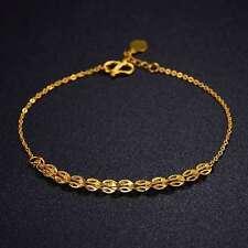 Pure 999 24K Yellow Gold New Design Women Lucky Pteris O Link Chain Bracelet