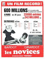 LES NOVICES Clichet Presse Affiche Film CINEMA BARDOT GIRARDOT Succès A. GENOVES