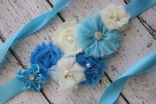 Flower Sash,turquoise ivory Sash , flower Belt, maternity sash, wedding sash